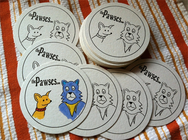 "Pawses ""Coloring"" Coaster"