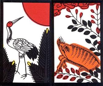 Hanafuda: Pine and Crane; Clover and Wild Boar