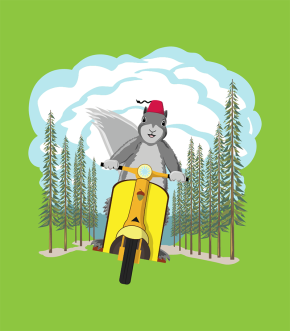 fez-wearing squirrel riding a scooter
