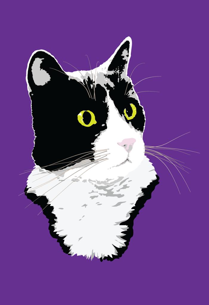 Regal Tuxedo Kitty illustration