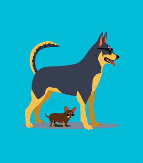 Illustration of tall dog providing shade for small dog