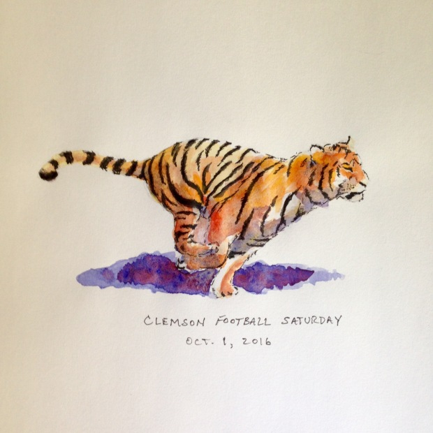 Ink and watercolor drawing of the Clemson tiger