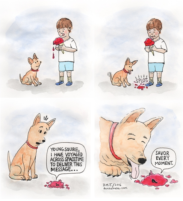 comic featuring a dog, a boy and a spacetime-travelling ice cream