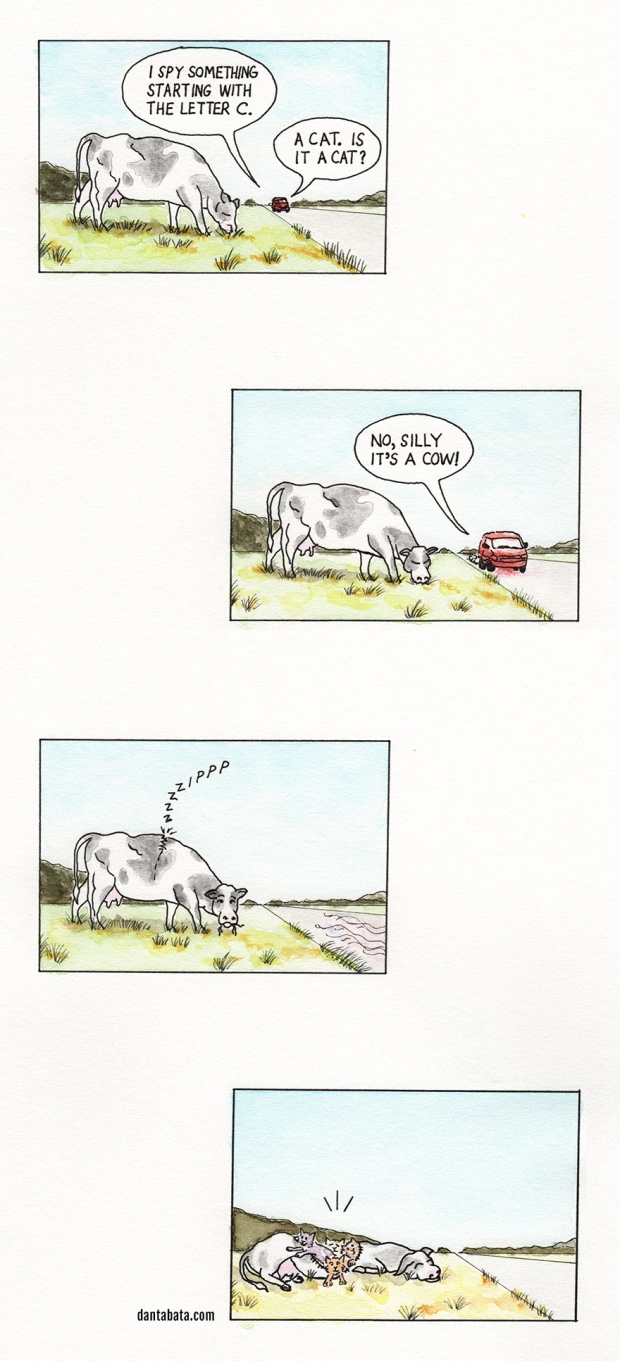 a comic featuring a cow, a car, a guessing game and an alternate ending