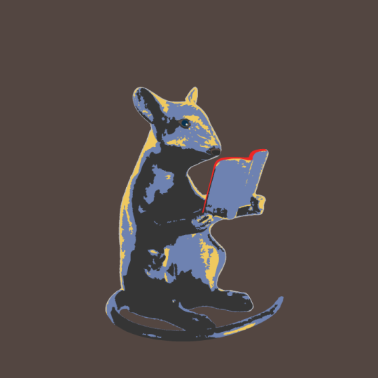 Mouse reading a book - blue version