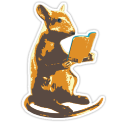 Sticker of a mouse reading a book