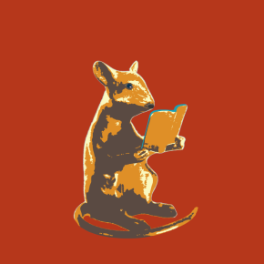 Mouse reading a book - gold version