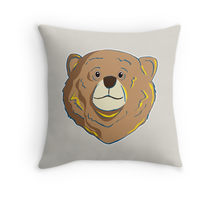 Redouble throw pillow of a happy bear