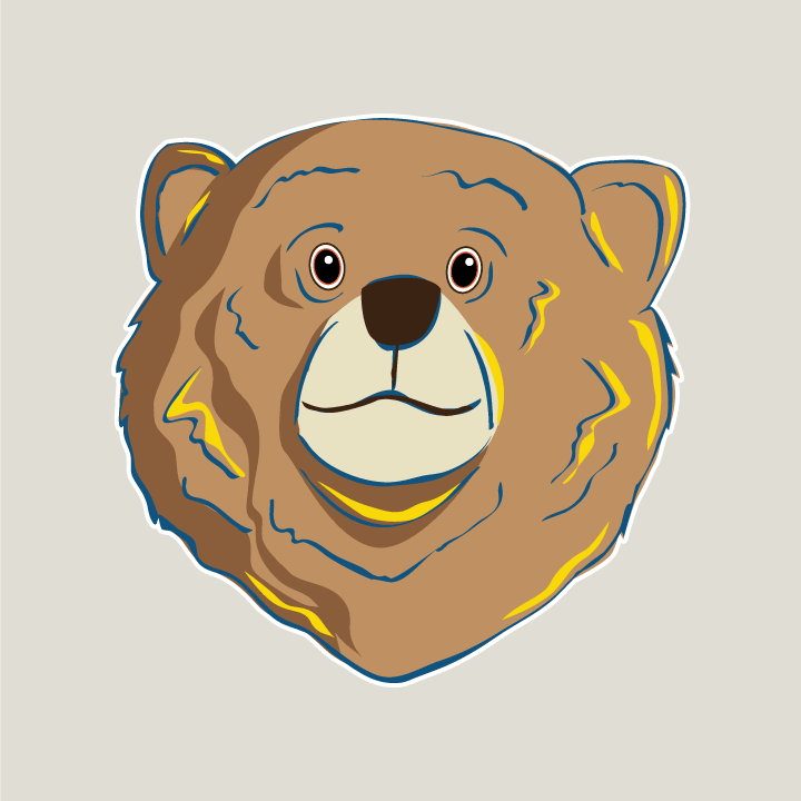 Drawing of a happy bear
