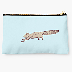 Redbubble studio pouch of a sprinting squirrel