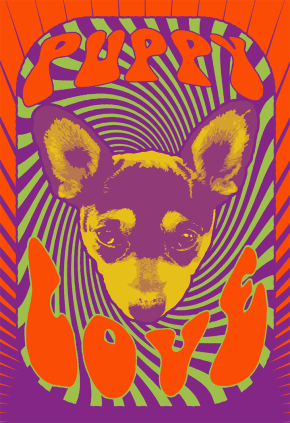 1960s psychedelic puppy poster