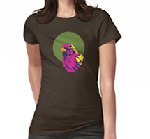 Sparrow Spectrum design decorating a Redbubble women's t-shirt