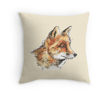 Fox casual design decorating a Redbubble throw pillow