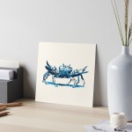 Crab design decorating a Redbubble art board
