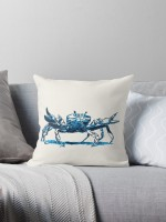Crab design decorating a Redbubble throw pillow