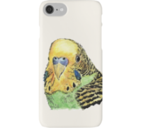 Green parakeet design decorating a Redbubble phone case