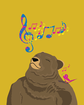 Digital drawing of a bear tilting his head to listen to singing bird