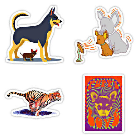 Four stickers from my Redbubble sticker collection
