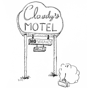 "Drawing of a sad cloud looking up at a motel's ""no vacancy"" sign"