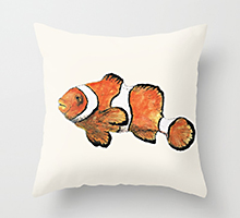 Society6 clownfish pillow