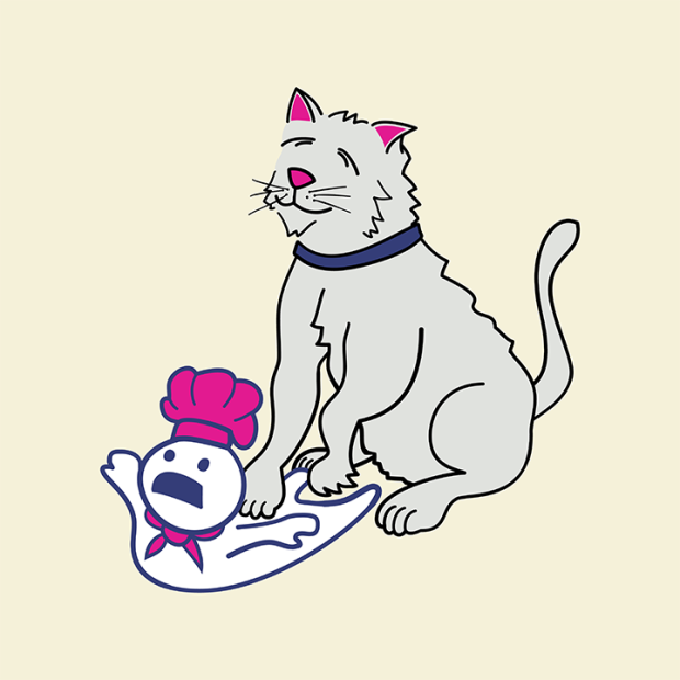 Digital drawing of a cat kneading a dough man
