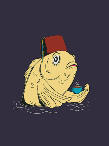 Society6 dark blue version of the fez fish
