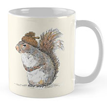 Redbubble squirrel with an acorn mug
