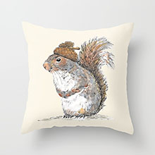 Society6 squirrel with an acorn pillow