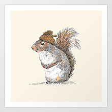 Society6 squirrel with an acorn art print