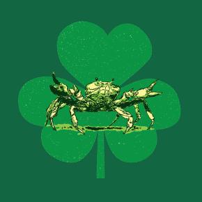 Crab, light green shamrock, and dark green background
