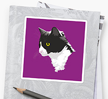 Redbubble tuxedo cat sticker
