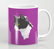 Society6 tuxedo cat coffee mug