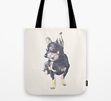 Society6 little dog waiting tote bag