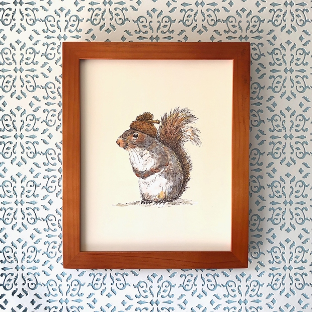 Framed 8x10 of Squirrel with an Acorn Hat