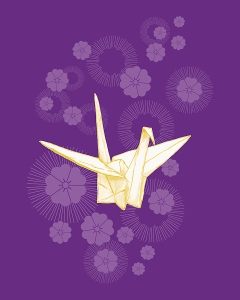 Paper crane and cherry blossoms art