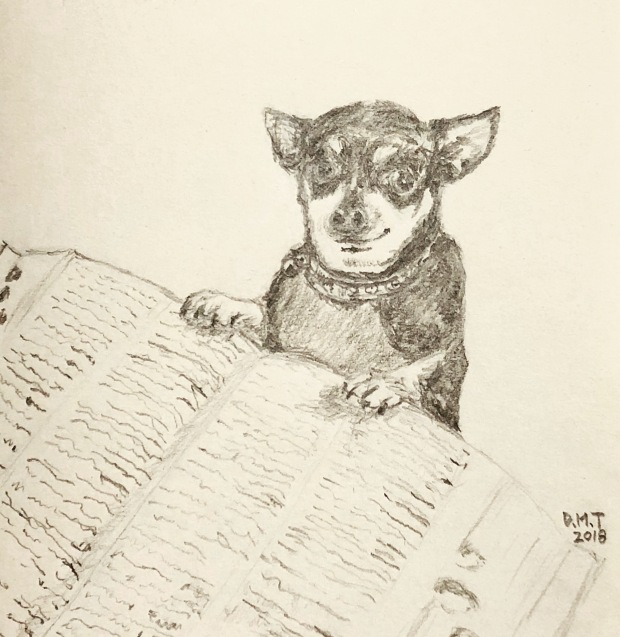 Drawing of a dog and a dictionary