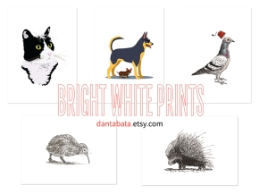 Bright white prints in Dan's Etsy shop