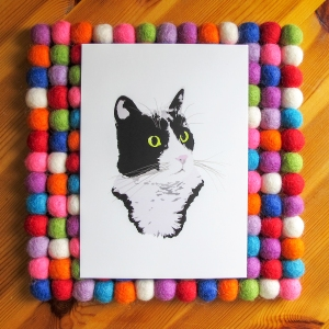 Regal Tuxedo Kitty Cat bright white 5x7 art print