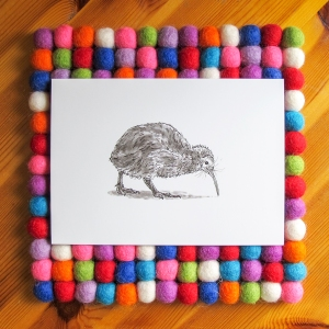 Kiwi Bird bright white 5x7 art print