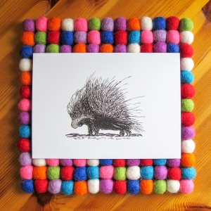 Porcupine bright white 5x7 art print